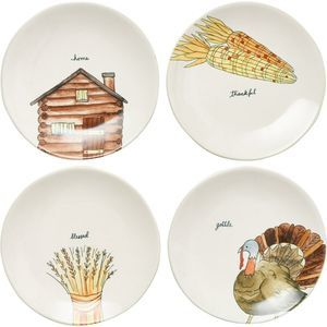 "Rae Dunn Thanksgiving 8"" Appetizer Plates Set of 4"